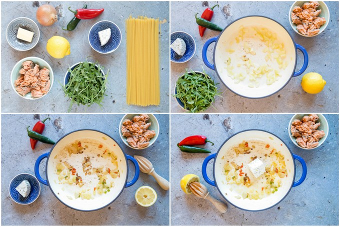 A collage of four top down pictures showing the first stages of making creamy salmon pasta: assembling the ingredients, frying the onion, adding the chilli and adding the cheese.