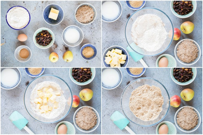 A collage of four pictures of making Dorset apple cake: assemble the ingredients, the flour in a large mixing bowl, adding the butter, and rubbing it in.