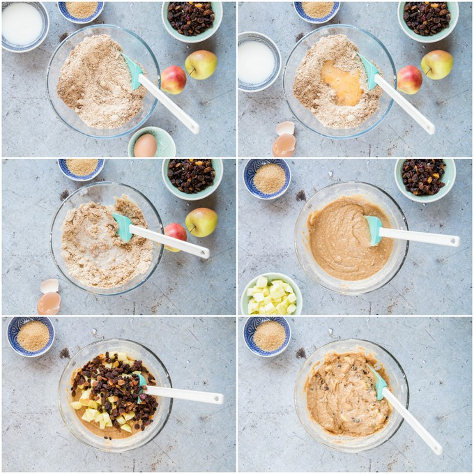 A collage of six pictures showing the stages of making Dorset apple cake. Adding the egg, mixing the batter, adding the sugar and mixing again.