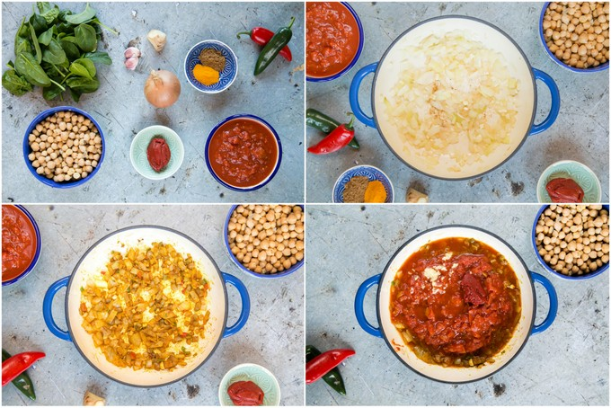 A collage of four pictures showing the stages of making Indian chickpea curry with tomato and spinach, from assembling the ingredients to adding to tomato.