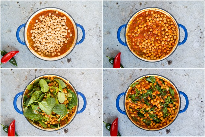 A collage of four photos showing how to make Indian chickpea curry with tomato and spinach.