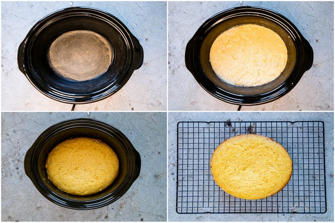 Four dop down shots of slow cooker cornbread. A slow cooker pot is shown empty but lined with parchment paper, full of cornbread batter, and with the cooked cornbread. Finally, the cornbread has been turned out onto a cooling rack.