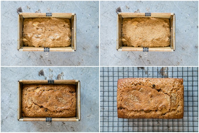 Baking a dorset apple cake. Four top down pictures of a loaf tin, one filled with the batter, one with sugar sprinked on top, on baked, and one with the cake turned out of the tin.