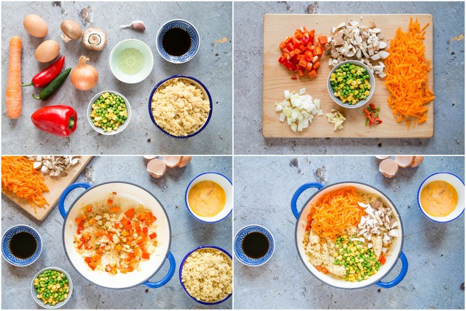 A top down collage of four pictures of the stages showing vegetable fried cous cous and egg.