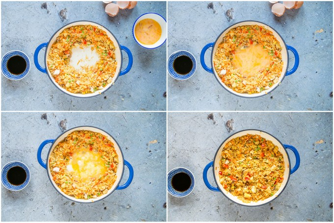 A collage of four pictures of making fried cous cous with egg