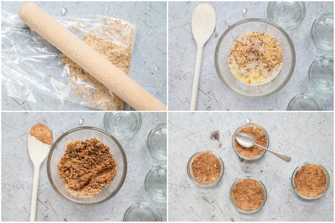 A top down collage of 4 photos showing how to make the biscuit base for chocolate cheesecakes