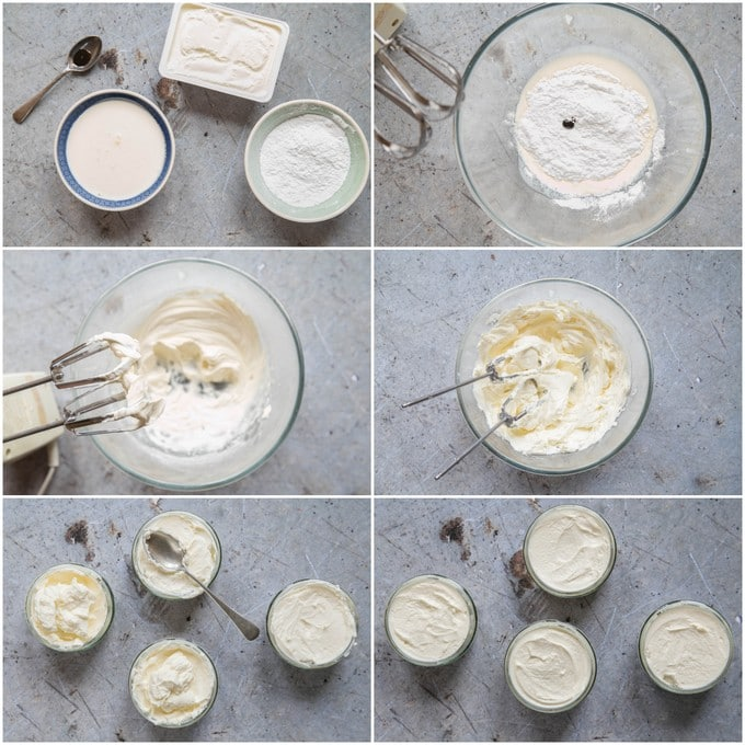 A top down collage of 6 photos showing how to make a no bake cheesecake filing