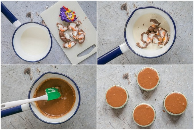 A top down collage of 6 photos showing how to make a crème egg ganache