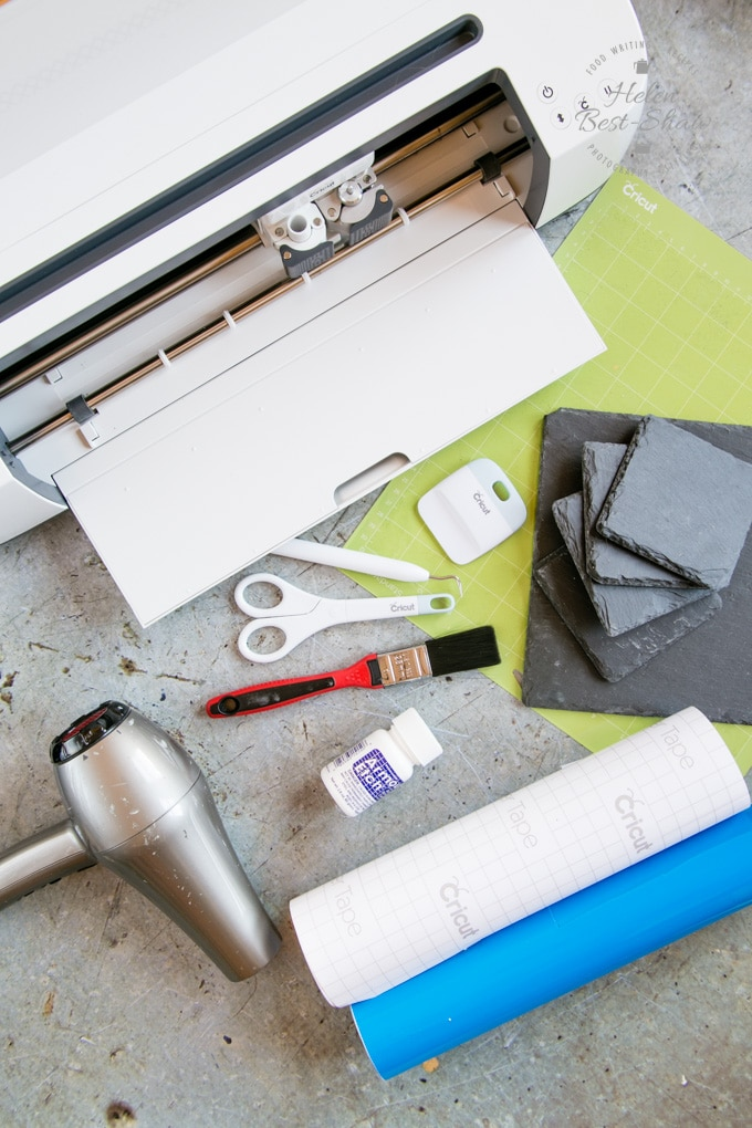 The Cricut Maker and materials for a slate craft project