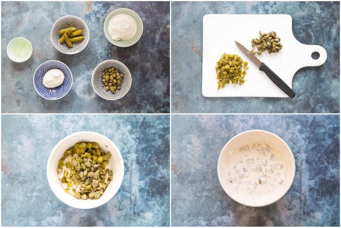 Tartare sauce in four pictures: the ingredients, chopping capers and gherkins, mixing all together.