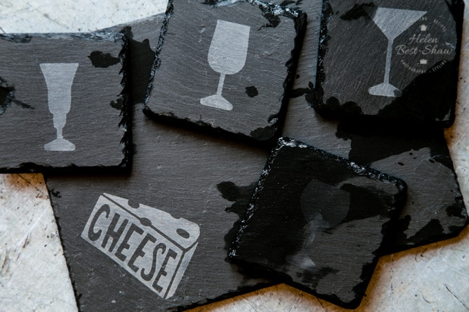 freshly etched coasters and cheeseboard