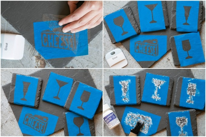 Step by step photos for an etched slate project with the Cricut Maker