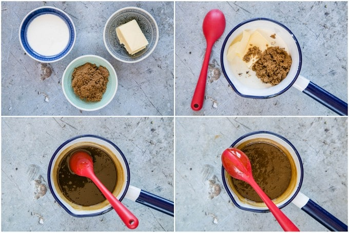 Four pictures of how to make fudge sauce from 3 ingredients.