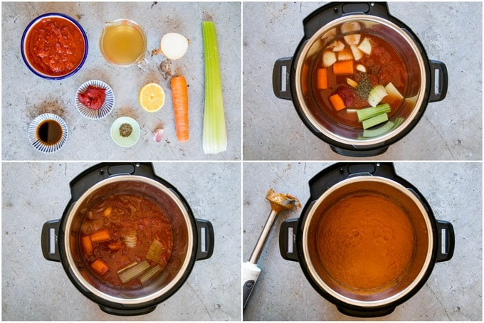 Four stages of instant pot dump and start soup.