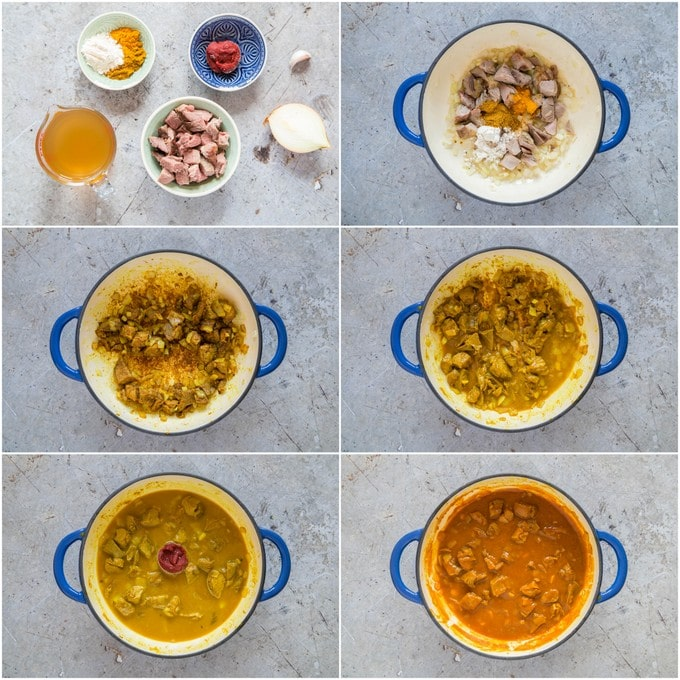 A collage of step by step images of how to make a leftover lamb curry