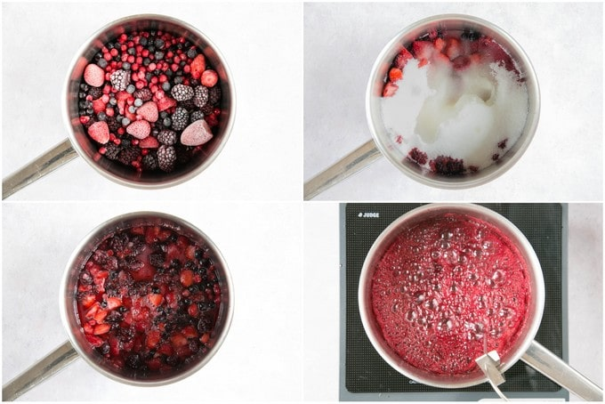 A four picture collage of a saucepan showing the stages of jam making.