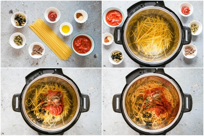 Four pictures of the stages of making pasta puttanesca in an Instant Pot electric pressure cooker.