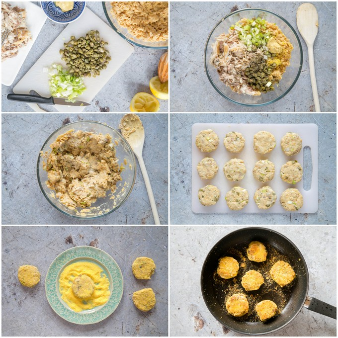 Six picture collage of the stages of making smoked mackerel fishcakes.