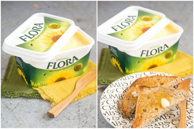 A tub of new 100% plant based Flora