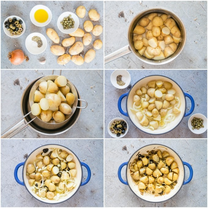 Step by step photos of how to make roasted new potatoes with capers and olives