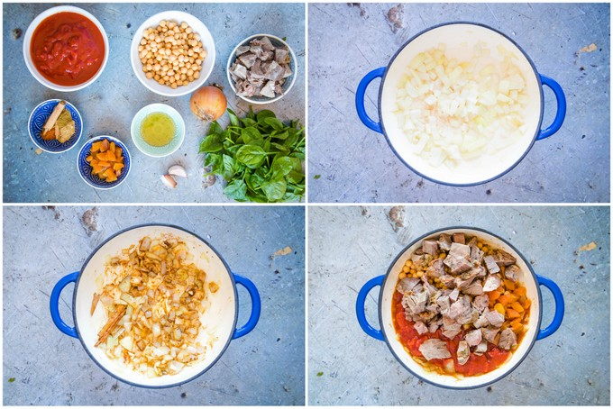 Top down collage of the first four stages of making lamb tagine