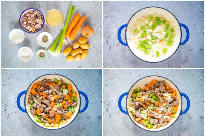 A 4 picture collage showing the ingredents, frying onions, adding ingredients and cooking leftover lamb stew.