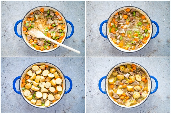 Four picture collage showing steps: the stew, adding stock, adding potatoes then it's ready to eat.