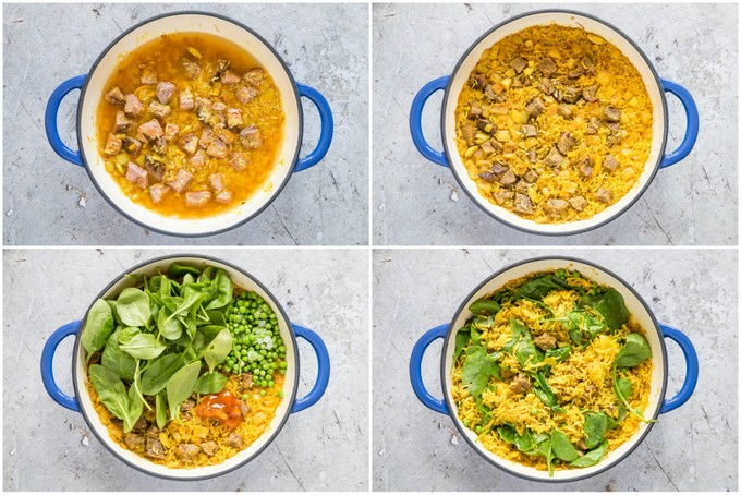 Four pictures showing the step by step stages of making our leftover lamb biryani recipe.