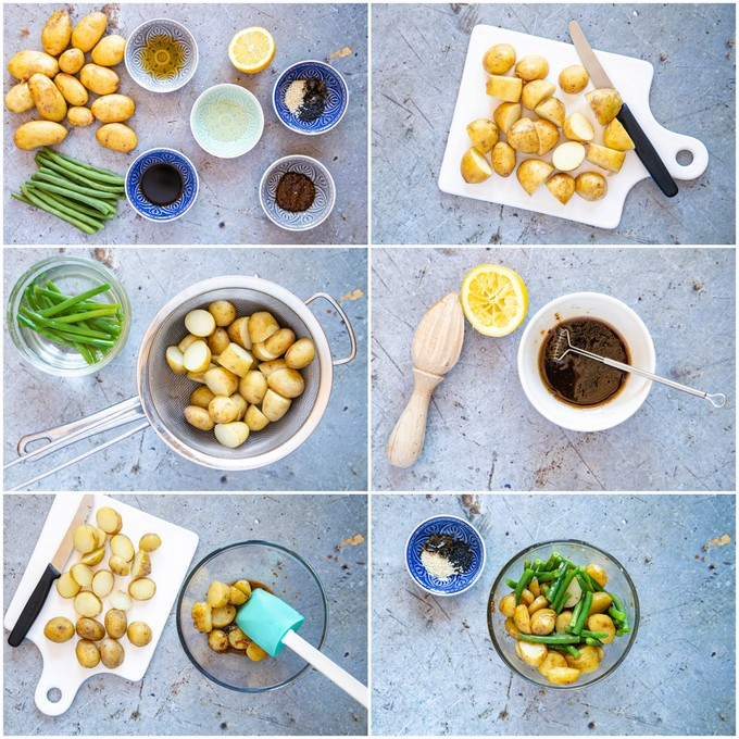 Top down collage of six stages of making miso potato salad no mayonnaise.