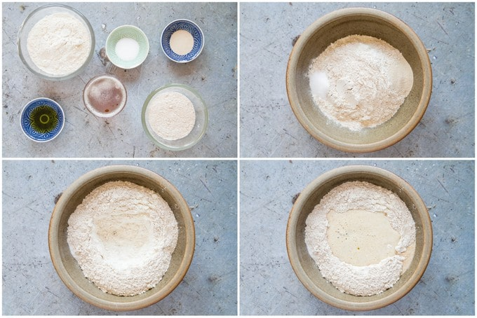 Four picture collage of mixing leftover beer bread - mixing the ingredients.
