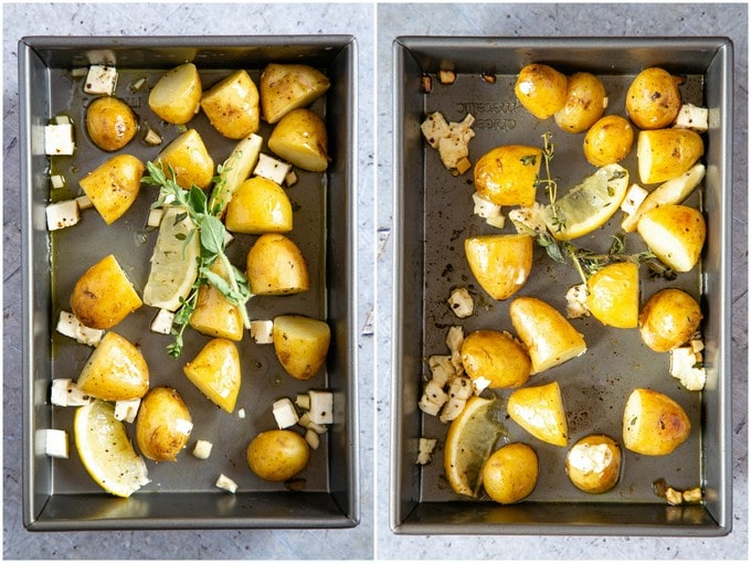 A 2 picture collage of Greek lemon potatoes spread out in a roasting dish, showing before and after cooking