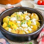 Potatoes, lemon and feta roasted with herbs.