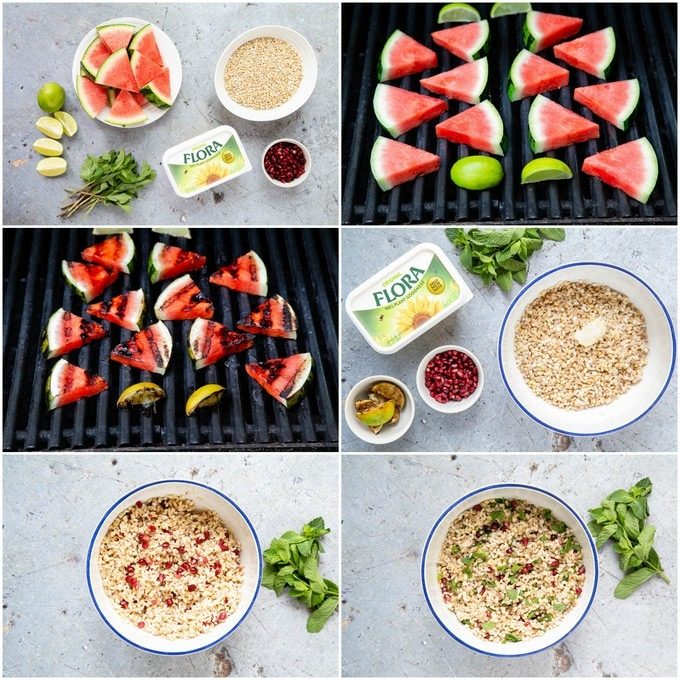 6 pictures of step by step stages of making grilled watermelon and mixed grain salad