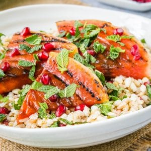 Close up of grilled watermelon and grain salad