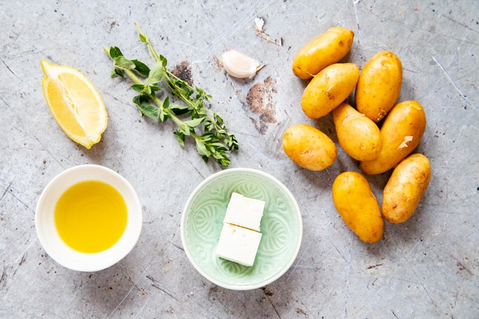 Ingredients for Greek Lemon Potatoes, from above. Made with new or salad potatoes and feta.