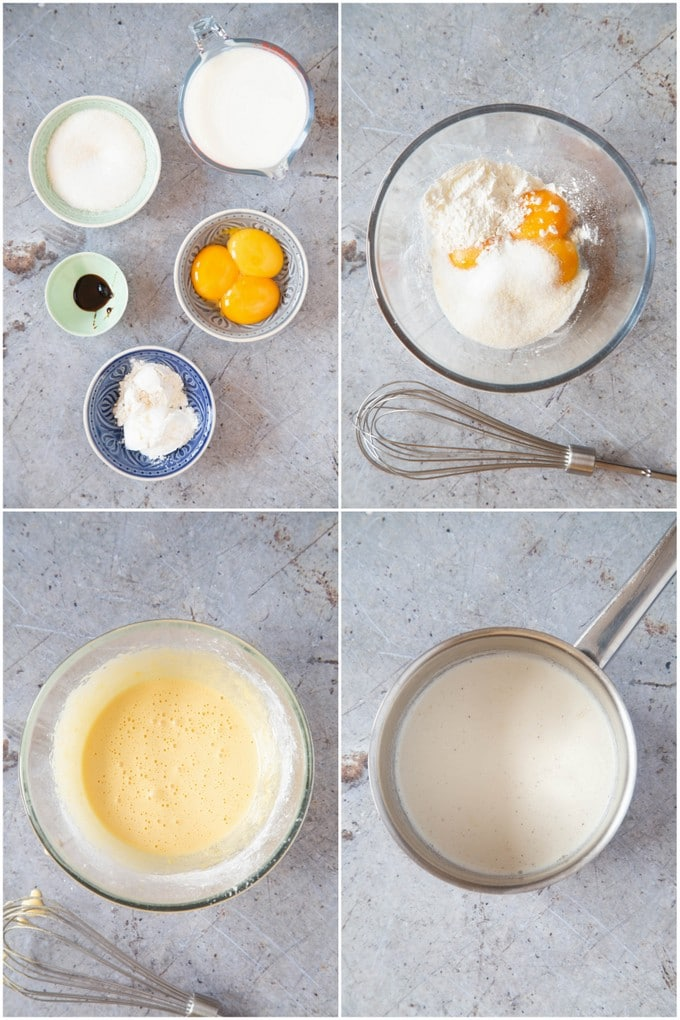 A collage of four pictures showing the first stages of making creme patissiere