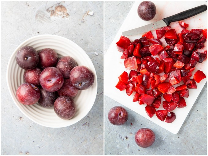 A top down view of a white bowl of purple plums. A second photo of a pile of chopped plums on a white board.