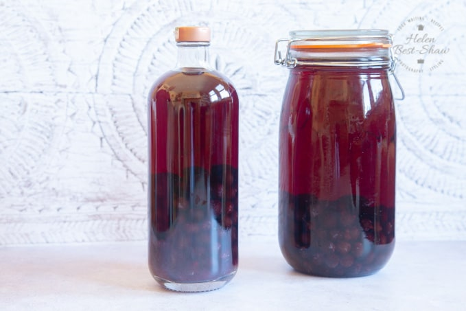 Sloe gin ready to be decanted.