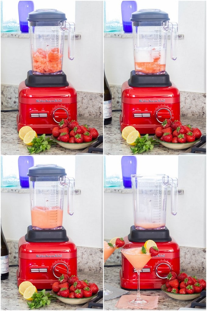 A collage of four pitures showing strawberry prosecco slushie being blended.