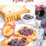 Two slices of toast with plum jam