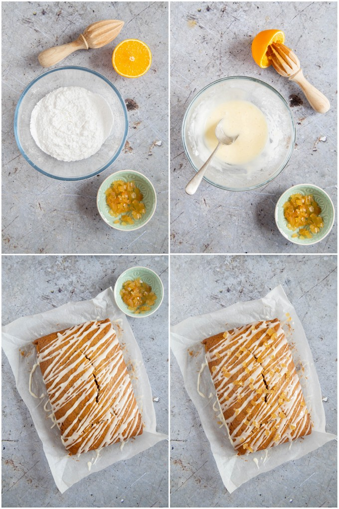 A collage of top down photos showing the steps for making pumpkin spice cake