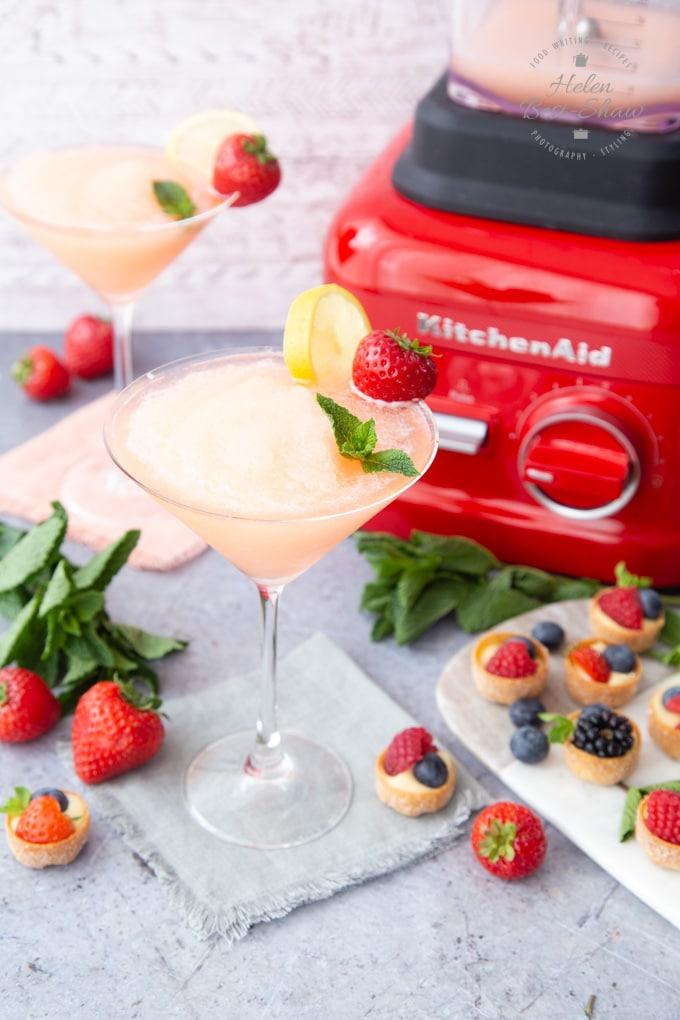 Strawberry Prosecco slushie and the KitchenAid Blender
