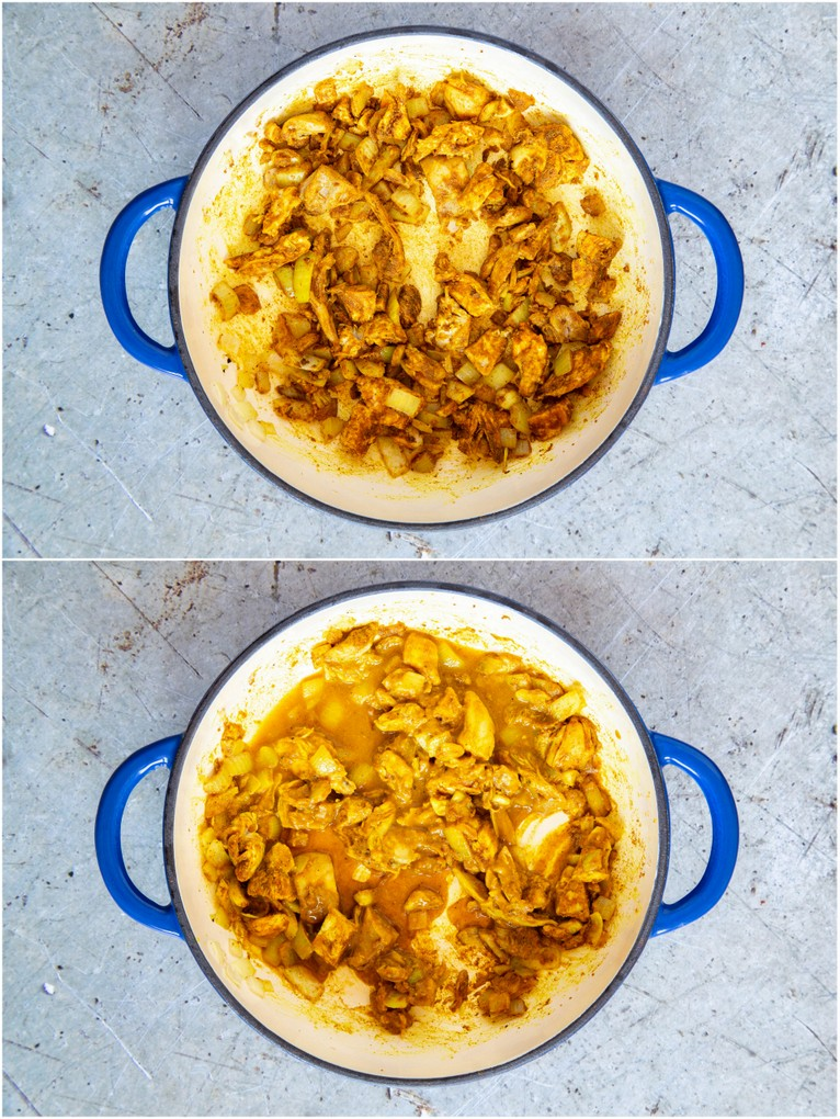 Cooked spiced onion and turkey, and adding the liquid.