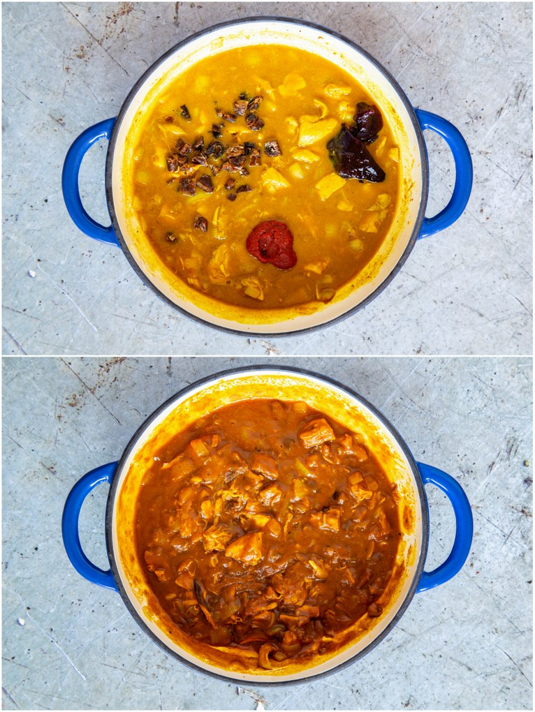 Leftover turkey curry - before and after simmering.