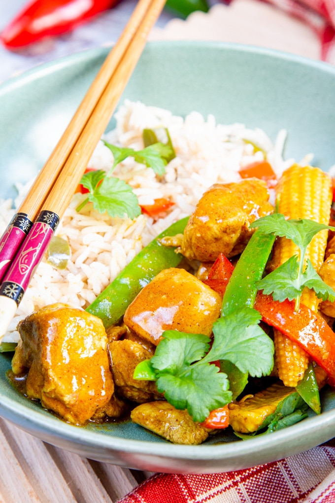 Close up of easy chicken curry.