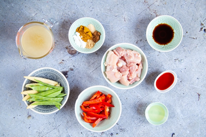 Ingredients for easy chicken curry