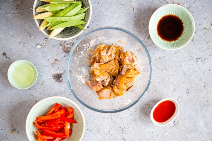 Chicken covered in Chinese ckicken rub.