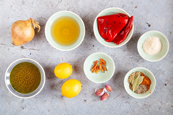 Ingredients for homemade peri peri sauce