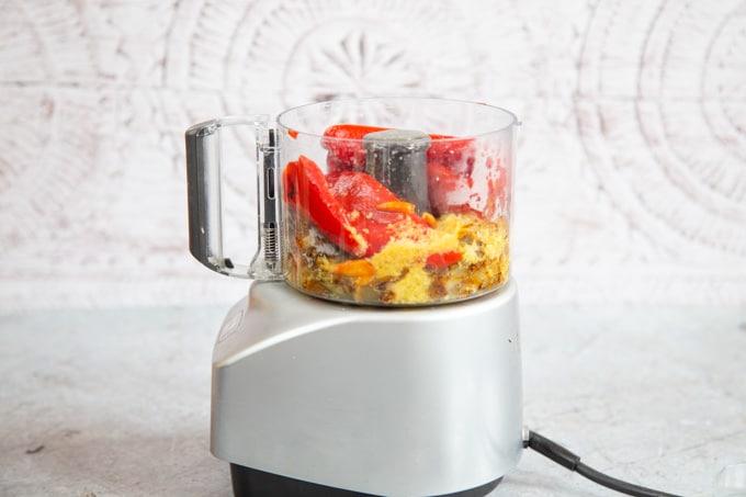 Peri peri sauce ingrdients before blitzing.