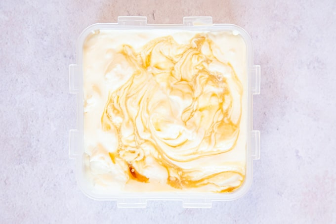 No churn maple syrup ice cream ready for the freezer.